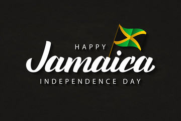 Vector realistic isolated typography logo for Jamaica Independence Day with origami flag for decoration and covering on the dark background.