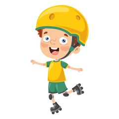 Vector Illustration Of Kid Roller Skating