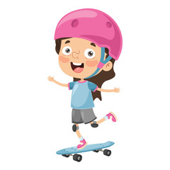 Vector Illustration Of Kid Skateboarding