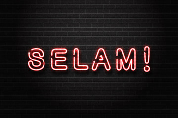 Vector realistic isolated neon sign of Selam lettering logo, Hello in turkish language for Hello for decoration and covering on the wall background.