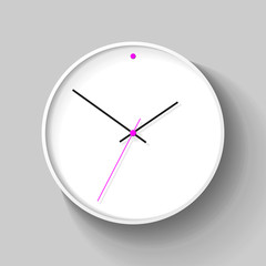 Simple wall Clock in realistic style, minimalistic timer on light background. Business watch with a pink dot. Vector design element for you project