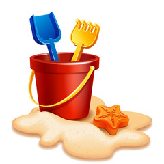 Vector illustration - Sand bucket, shovel and rake isolated on white