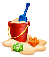 Vector illustration - Sand bucket, shovel and rake isolated on white