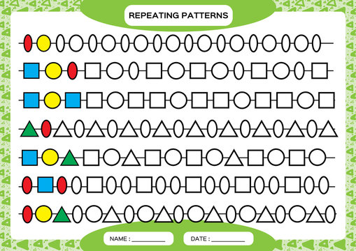 Complete repeating patterns. Worksheet for preschool kids. Practicing motor skills, improving skills tasks. Complete the pattern. Color beads. Green background. Square, circle, oval, triangle