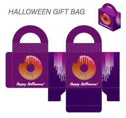 Template paper gift box with handles for Halloween sweets. Monster bitten donut on a purple background with the words Happy Halloween. Vector