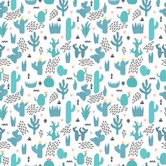 Cute seamless pattern with cacti and succulents, hand drawn flowers. Background in scandinavian style with cartoon plants. Desert ornament