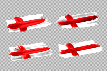 Vector realistic isolated paint on cheeks for football fans with England flag coloring for photo decoration and covering on the transparent background. Concept of football championship.