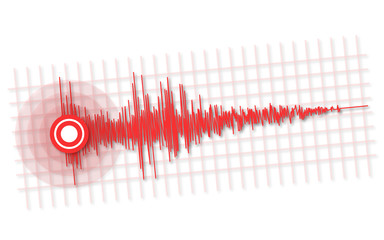 Earthquake -  seismic waves vector illustration on white for copy space