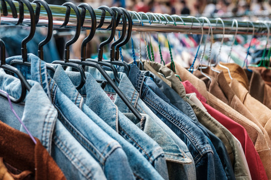 Jeans jackets and retro shirts on second hand market /  flea market - vintage clothing