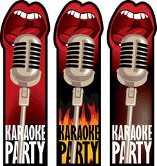 a set of stickers for a karaoke party with a microphone and a mouth that sings