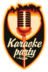 sticker for a karaoke party with a microphone and fire