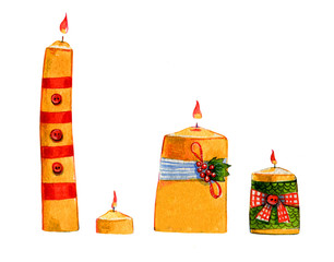 Hand drawn watercolor illustration with decorative Christmas candles