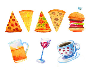 Wine, beer, pizza, burger and coffee hand drawn watercolor set for posters and cards