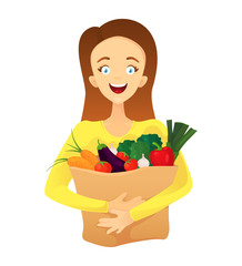 A cartoon woman holds a paper bag with vegetables in her hands. Happy housewife with shopping. Vector illustration isolated on white background.