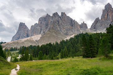 Santa Magdalena St Maddalena Val di Funes in Dolomites Italian Alps with Furchetta mountain peak
