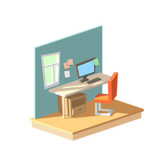 Isometric home office in interior