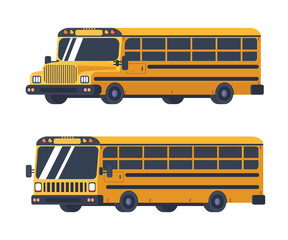 Two types of school bus isolated on white. Vehicle for transportation of students and pupils. Back to school