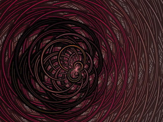 Fractal virtual grid on a black background. Abstract illuminated, thin, curving, woven pattern for creative art design. Computer generated fractal. Spiral digital graphic composition.