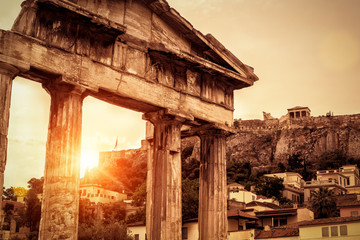 Fototapete - Roman Agora at sunset in summer, Athens, Greece