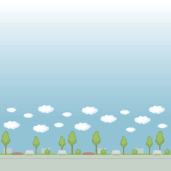 Seamless vector pattern curb park street painted trees of a flowerbed of flowerbeds fence clouds on a blue background.