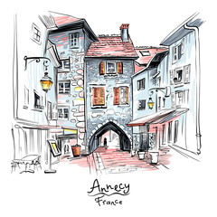 Vector hand drawing, city view with Gorgeous medieval arch gate Sepulchre Gate on the street Rue Sainte-Claire in Old Town of Annecy, France.