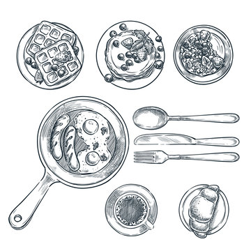 Cooking breakfast, vector top view sketch illustration. Set of isolated hand drawn morning meal.