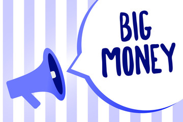 Word writing text Big Money. Business concept for Pertaining to a lot of ernings from a job,business,heirs,or wins Megaphone loudspeaker loud screaming scream idea talk talking speech bubble.