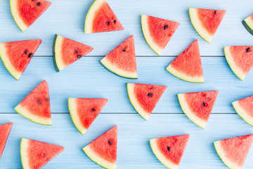 Watermelon slice on blue wood background,Concept food for summer