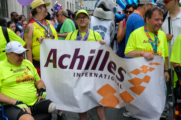 Members of Achilles make their way to Union Square during the Disability Pride Parade in New York