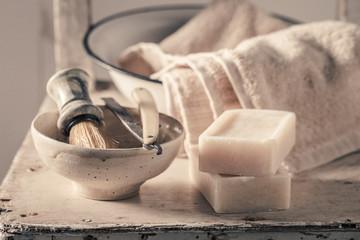 Unique barber equipment with foam, razor and brush
