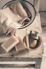 Classic tools for shave with foam, razor and brush