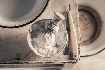 Antique tools for shave with brush, razor, soap
