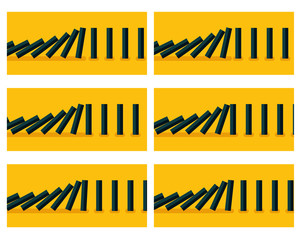 Falling black dominoes animation sprite with yellow background