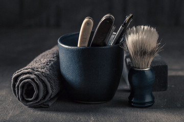 Unique tools for shave. Sharp razor, soap and brush