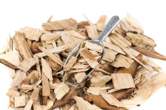 Pile of shredded wood chips for smoking meats