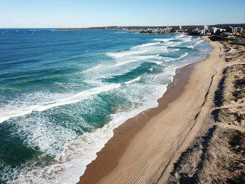 Bird view of Wanda and Cronulla beach (Sydney, Australia) on a sunny but cold day in winter time.