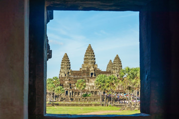 Ancient temple Angkor Wat from across the lake. The largest religious monument in the world. Siem Reap, Cambodia Wall mural