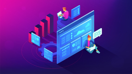 Digital strategy and planing isometric illustration. Digital marketing roadmap strategy and activities planning online marketing concept. Vector 3D illustration on ultraviolet background.