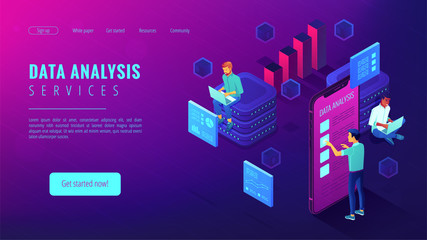Data analysis services landing page. Isometric IT team working on different analytics services around charts and graphics. Big data analysis concept . Vector 3d illustration on ultraviolet background. Fotoväggar
