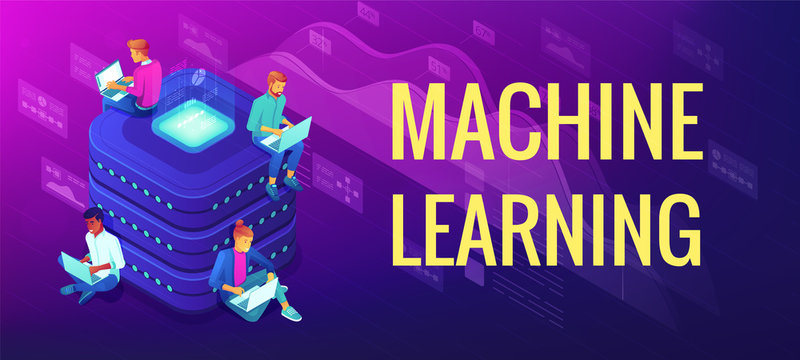 Isometric machine learning concept. Computer science, statistical techniques and data analysis. Engineering team working near machine learning title. Vector 3d illustration on ultraviolet background.