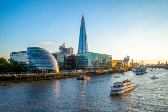 skyline of london by the thames river