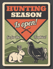 Hunting season openning retro poster with game