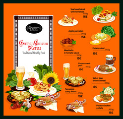 German cuisine menu with traditional healthy food
