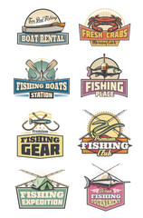 Fishery gear fishing club retro icons rod and fish