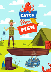 Catch fish vector poster with fisherman and boat