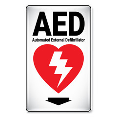 Vector and illustration graphic style, AED Automated External Defibrillator Symbol,label icon on white background, Attracting attention Security First sign, Idea for presentation EPS 10.