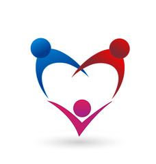 Family team people heart figure. Vector Logo Symbol