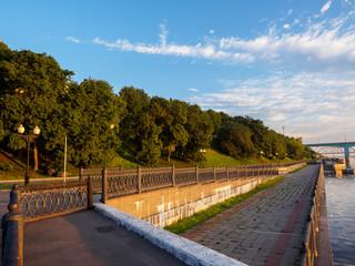 Quay of the river. Grass, water, Church, Yaroslavl
