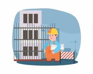 funny builder contractor handyman foreman engineer repairman labor workman worker construction site cartoon character