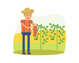 cute farmer farming harvest farms planting agriculture agriculturist tiller soursop cartoon character